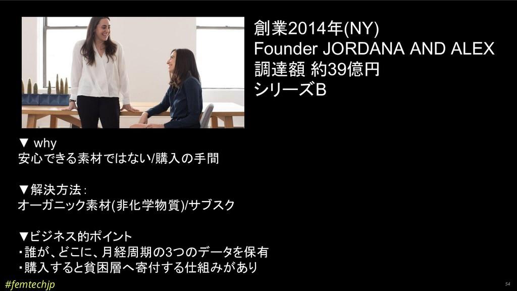 #femtechjp 54 創業2014年(NY) Founder JORDANA AND A...