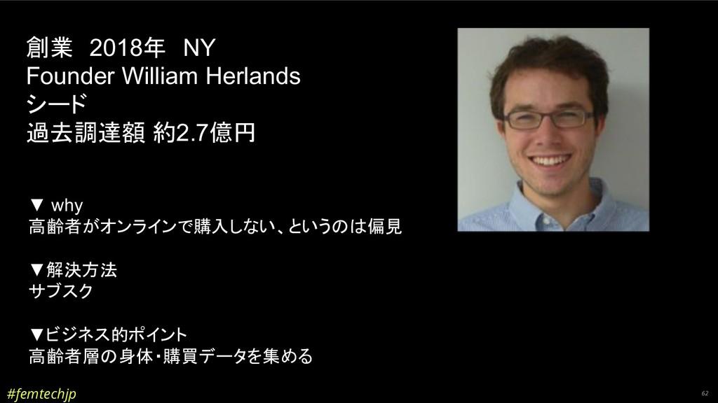 #femtechjp 62 創業 2018年 NY Founder William Herla...