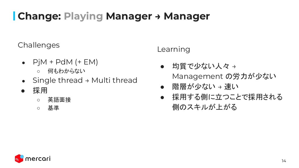 14 Change: Playing Manager → Manager Challenges...