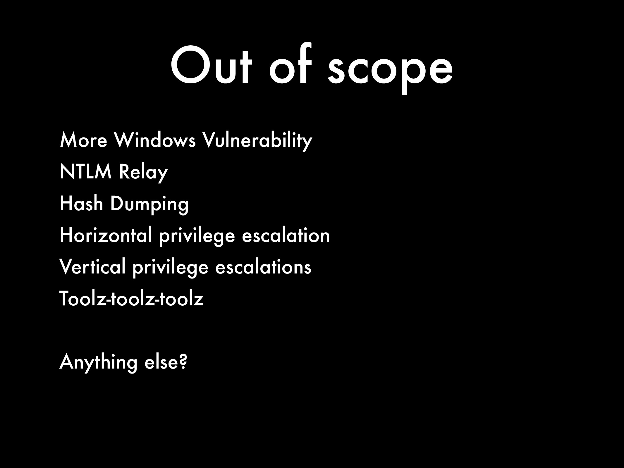 Out of scope More Windows Vulnerability NTLM Re...