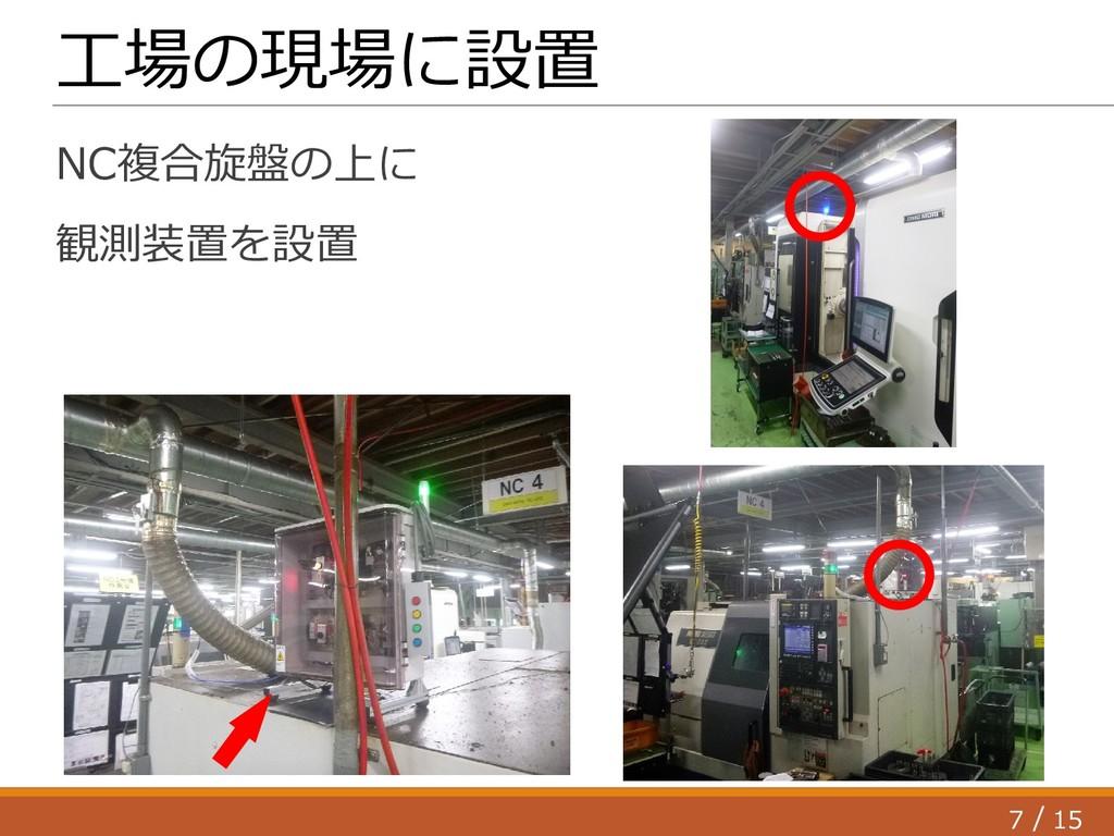 7 15 / 工場の現場に設置 NC複合旋盤の上に 観測装置を設置