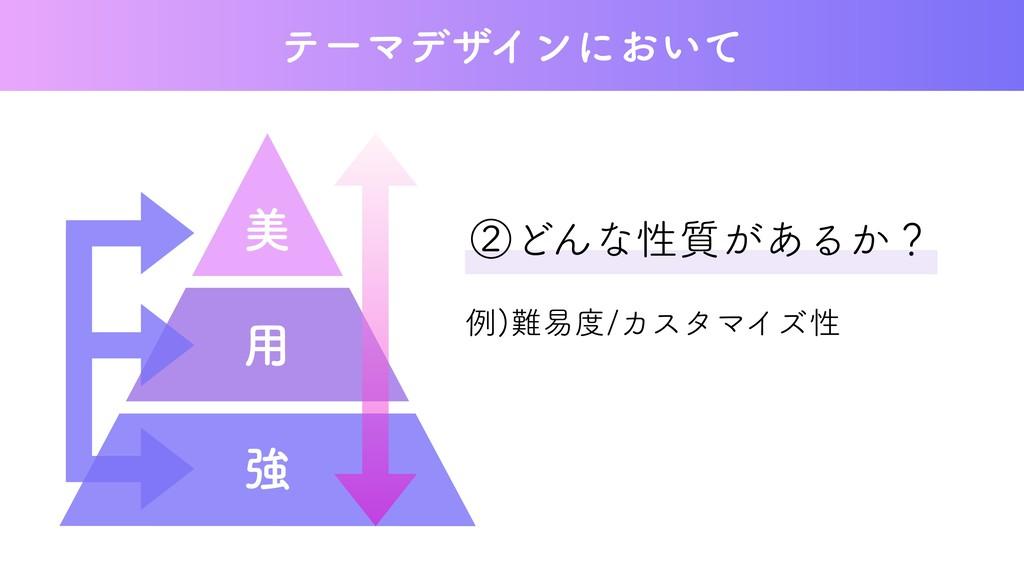 ②どんな性質があるか? 例)難易度/カスタマイズ性 テーマデザインにおいて 美 用 強