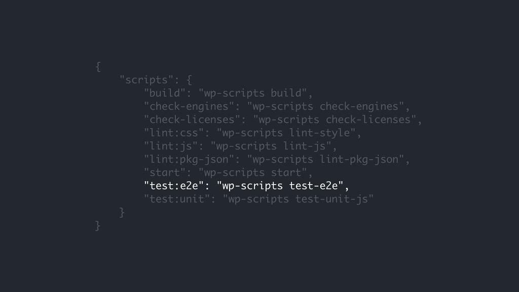 """{ """"scripts"""": { """"build"""": """"wp-scripts build"""", """"ch..."""