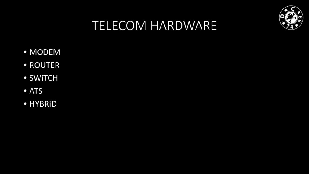 TELECOM HARDWARE • MODEM • ROUTER • SWiTCH • AT...