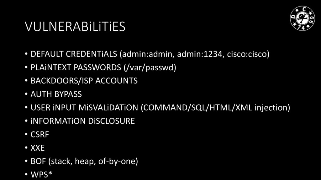 VULNERABiLiTiES • DEFAULT CREDENTiALS (admin:ad...
