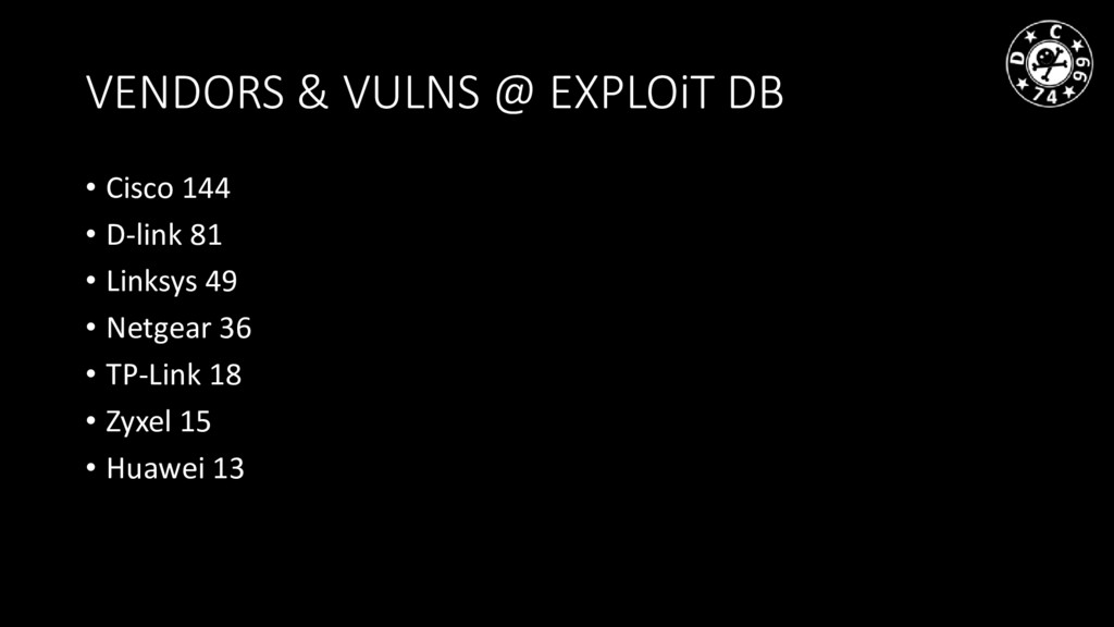 VENDORS & VULNS @ EXPLOiT DB • Cisco 144 • D-li...