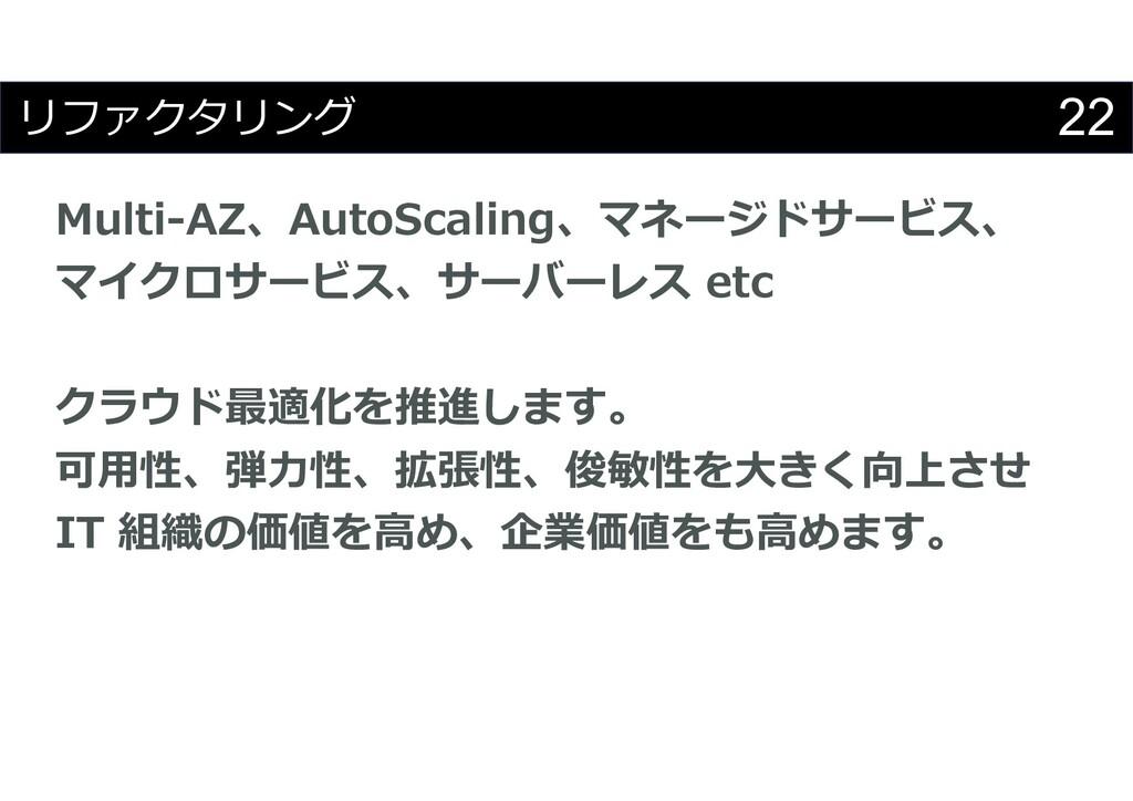 22 リファクタリング Multi-AZ、AutoScaling、マネージドサービス、 マイク...