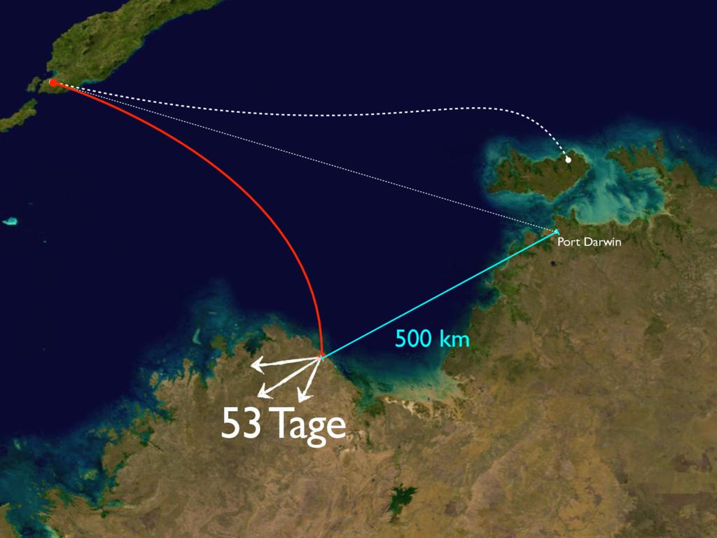 500 km 53 Tage Port Darwin