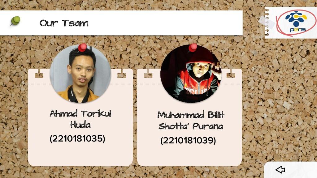 Our Team Ahmad Torikul Huda (2210181035) Muhamm...