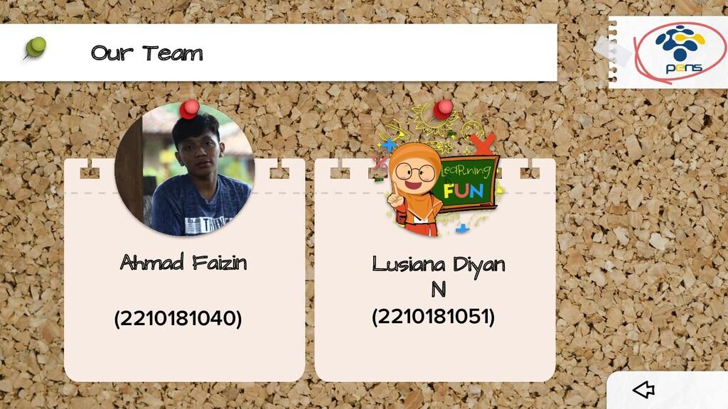 Our Team Ahmad Faizin (2210181040) Lusiana Diya...