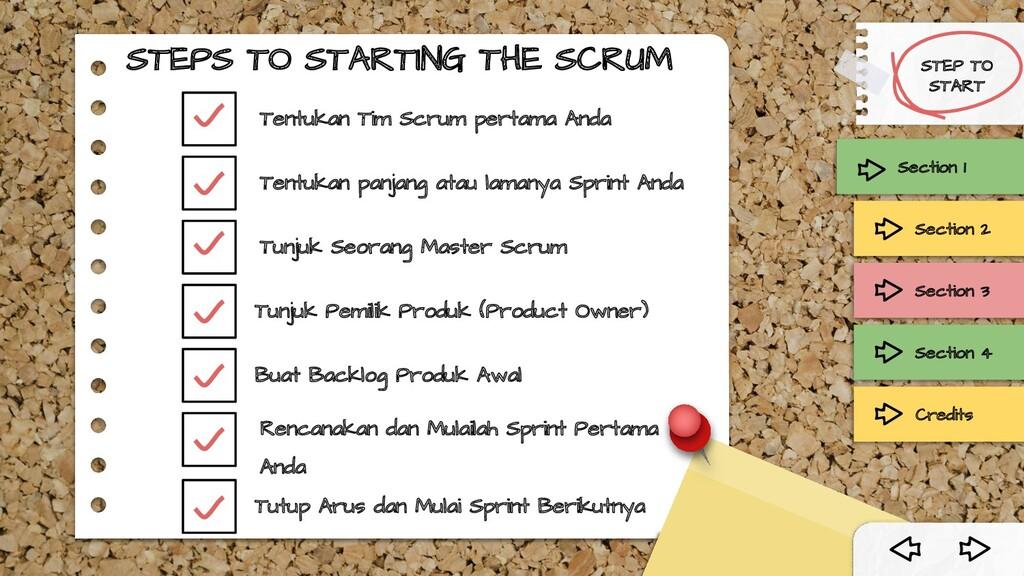 STEPS TO STARTING THE SCRUM Tentukan panjang at...