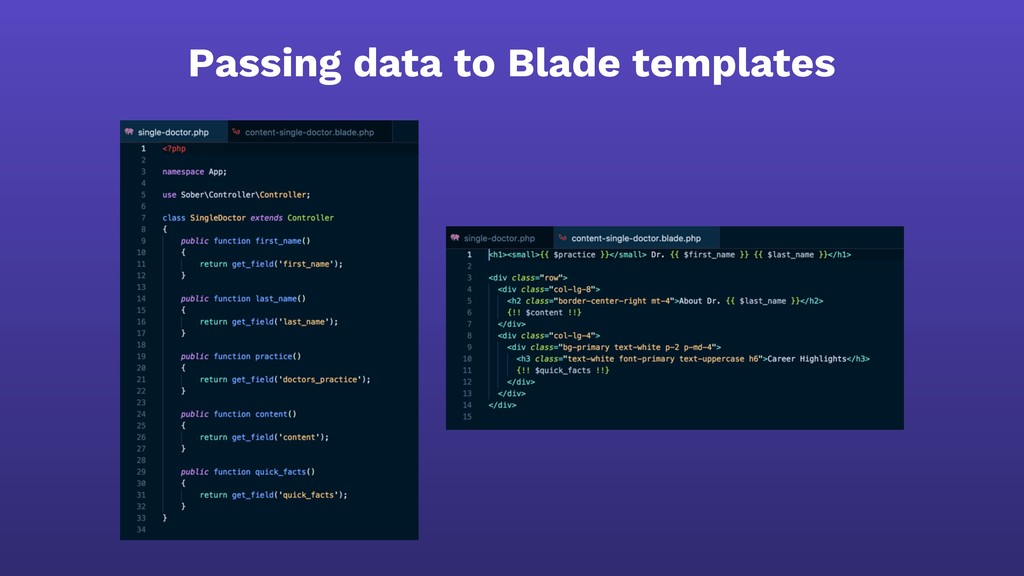 Passing data to Blade templates