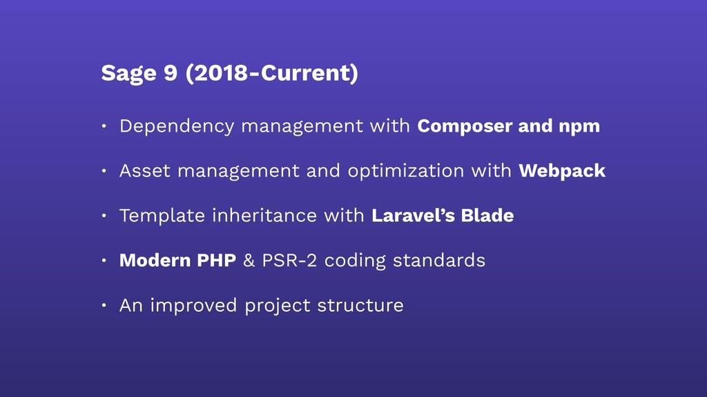 Sage 9 (2018-Current) • Dependency management w...