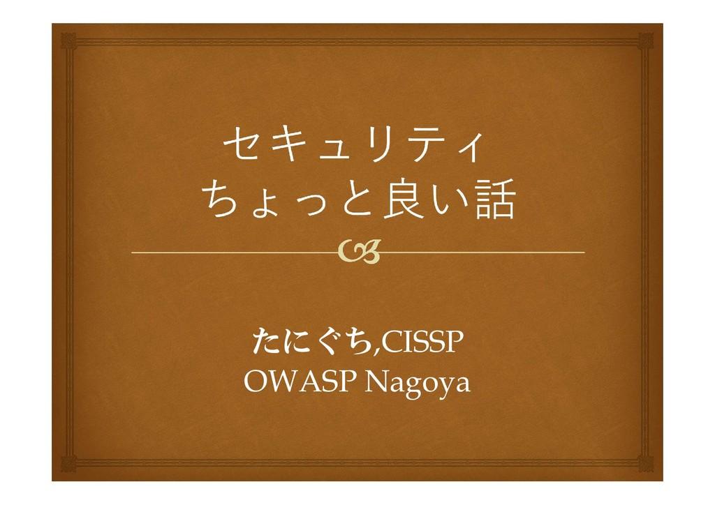 たにぐち,CISSP OWASP Nagoya
