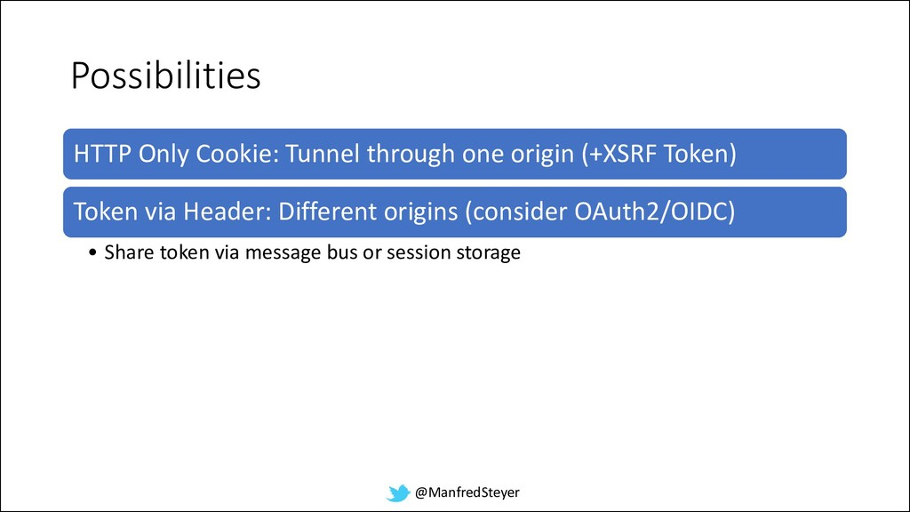 @ManfredSteyer Possibilities HTTP Only Cookie: ...