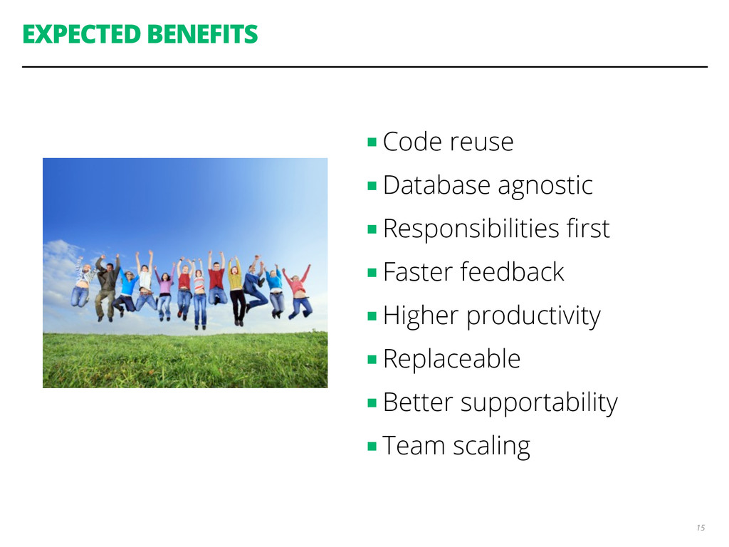 EXPECTED BENEFITS ■ Code reuse ■ Database agnos...