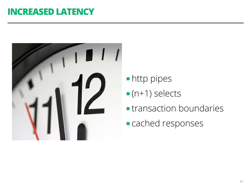 INCREASED LATENCY ■ http pipes ■ (n+1) selects ...