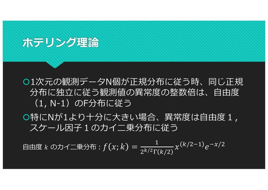 ホテリング理論 š1次元の観測データN個が正規分布に従う時、同じ正規 分布に独⽴に従う観測値の...