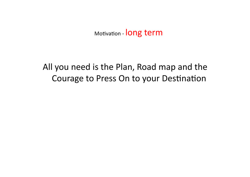 All you need is the Plan, Roa...