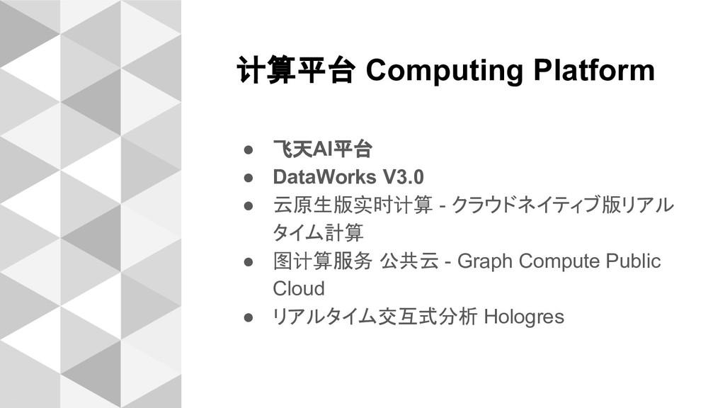 计算平台 Computing Platform ● 飞天AI平台 ● DataWorks V3...