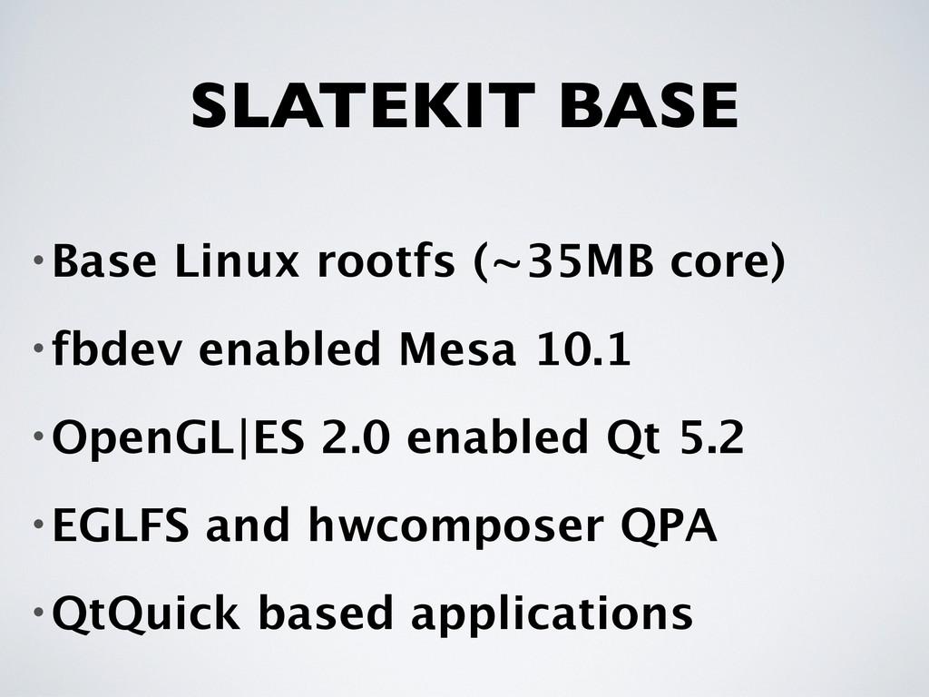 SLATEKIT BASE •Base Linux rootfs (~35MB core) •...