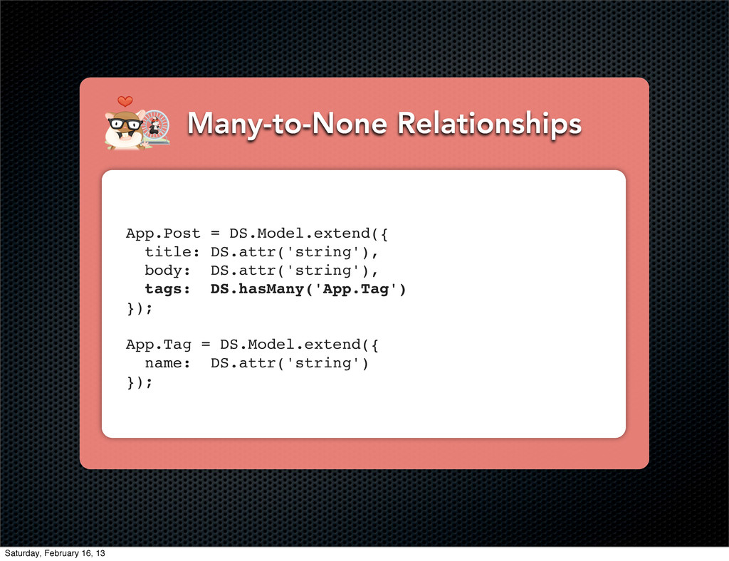 Many-to-None Relationships App.Post = DS.Model....
