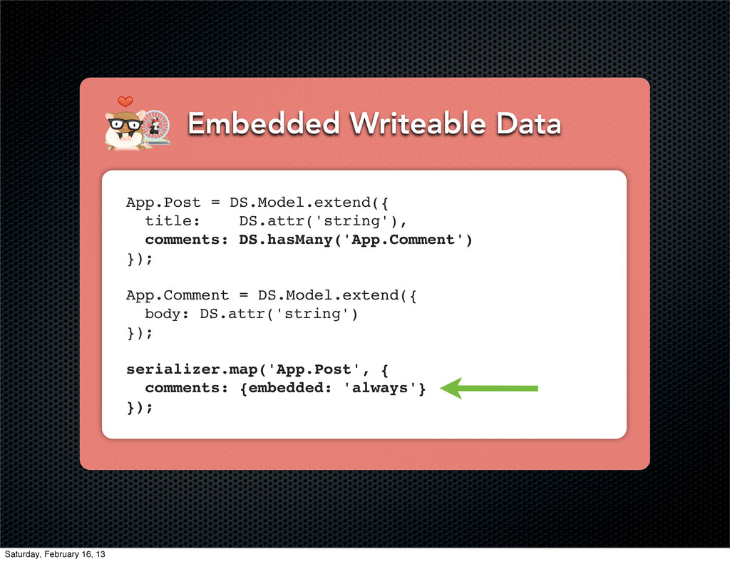 Embedded Writeable Data App.Post = DS.Model.ext...