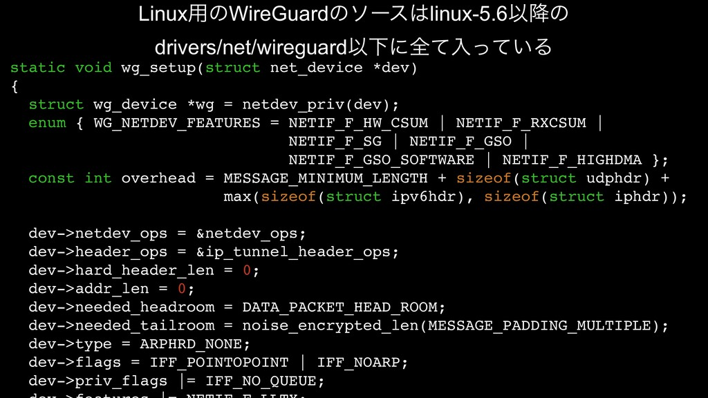 static void wg_setup(struct net_device *dev) { ...