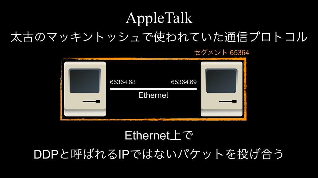 AppleTalk ଠݹͷϚοΩϯτογϡͰΘΕ͍ͯͨ௨৴ϓϩτίϧ Ethernet Et...