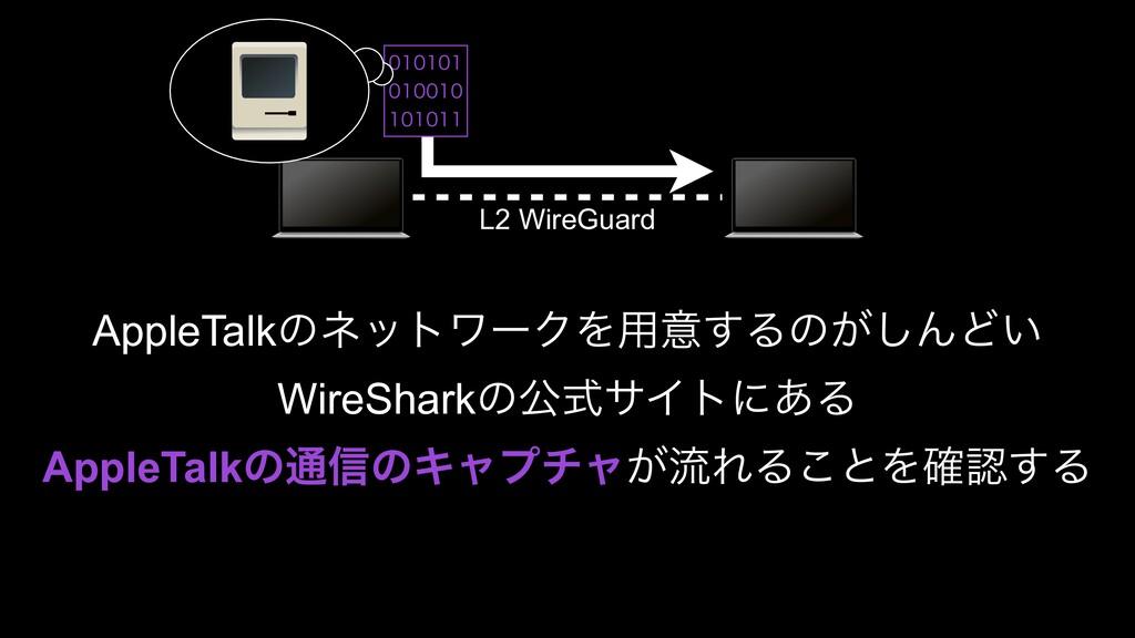 L2 WireGuard AppleTalkͷωοτϫʔΫΛ༻ҙ͢Δͷ͕͠ΜͲ͍ WireSh...