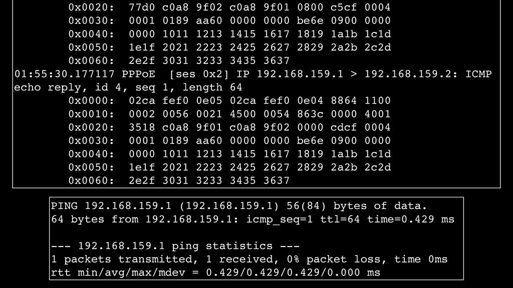 0x0020: 77d0 c0a8 9f02 c0a8 9f01 0800 c5cf 0004...