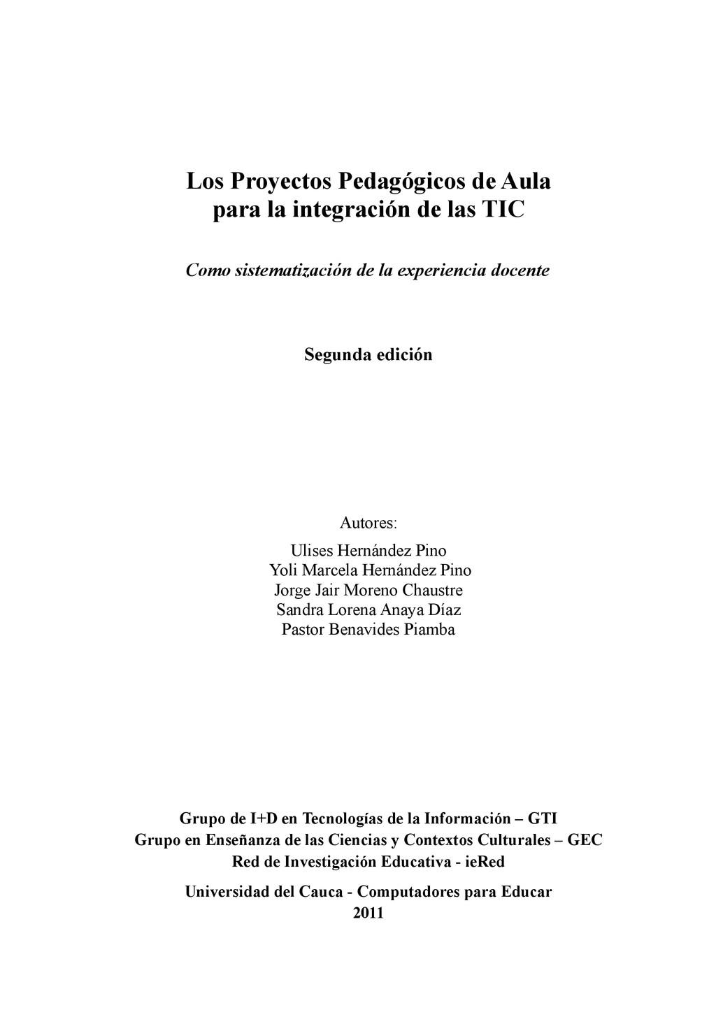 Los Proyectos Pedagógicos de Aula para la integ...