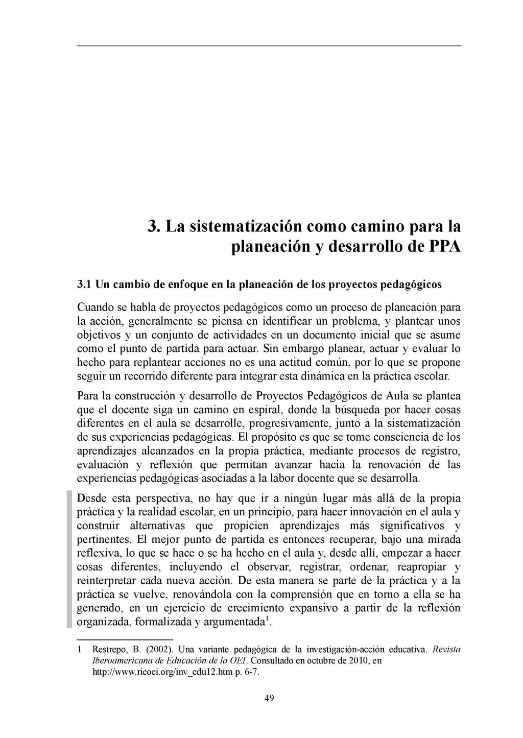 3. La sistematización como camino para la plane...
