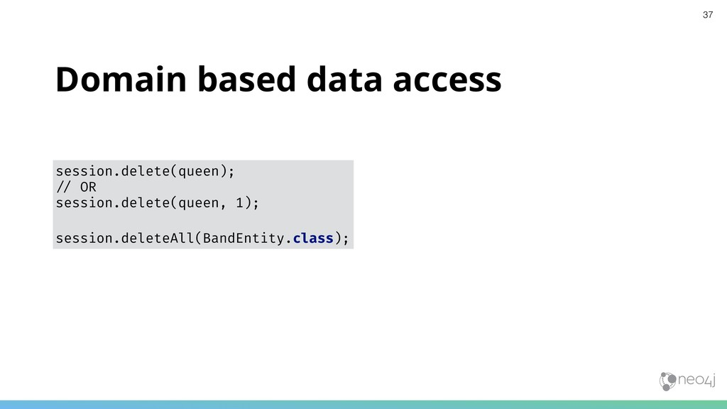 Domain based data access session.delete(queen);...
