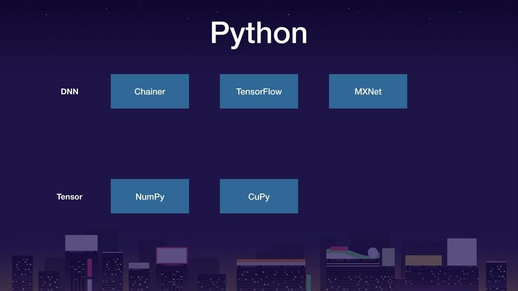 Python Chainer DNN TensorFlow MXNet NumPy Tenso...