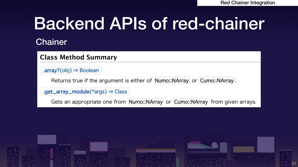 Backend APIs of red-chainer !51 Red Chainer Int...