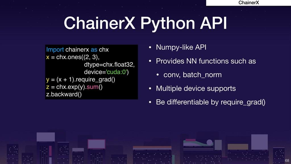 ChainerX Python API !68 Import chainerx as chx ...
