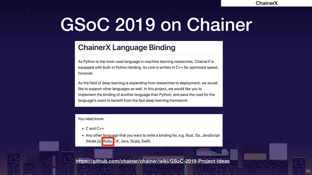 GSoC 2019 on Chainer !70 https://github.com/cha...