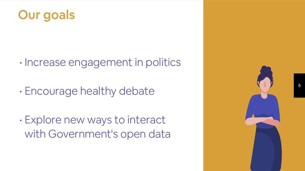 5 • Increase engagement in politics • Encourage...
