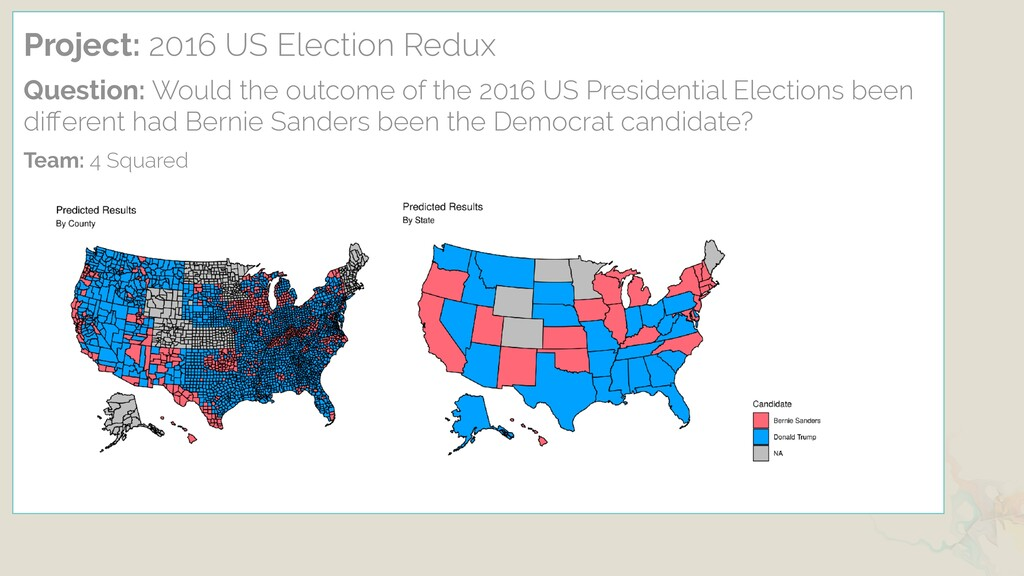Project: 2016 US Election Redux Question: Would...
