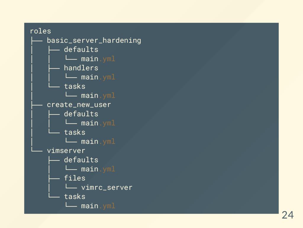 roles ├ ─ ─ basic_server_hardening │ ├ ─ ─ defa...