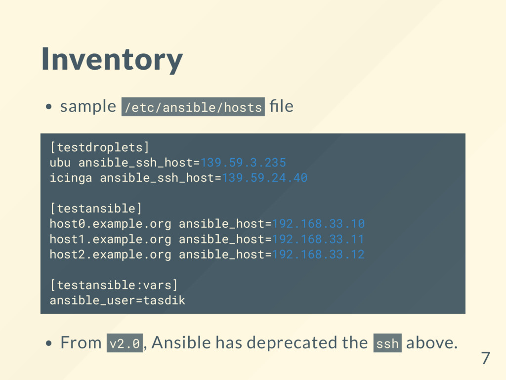 Inventory sample /etc/ansible/hosts le [testdro...