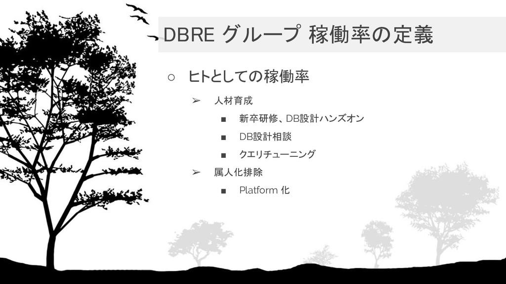 DBRE グループ 稼働率の定義 ○ ヒトとしての稼働率 ➢ 人材育成 ■ 新卒研修、DB設...