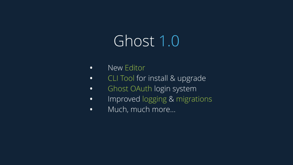 Ghost 1.0 • New Editor • CLI Tool for install &...