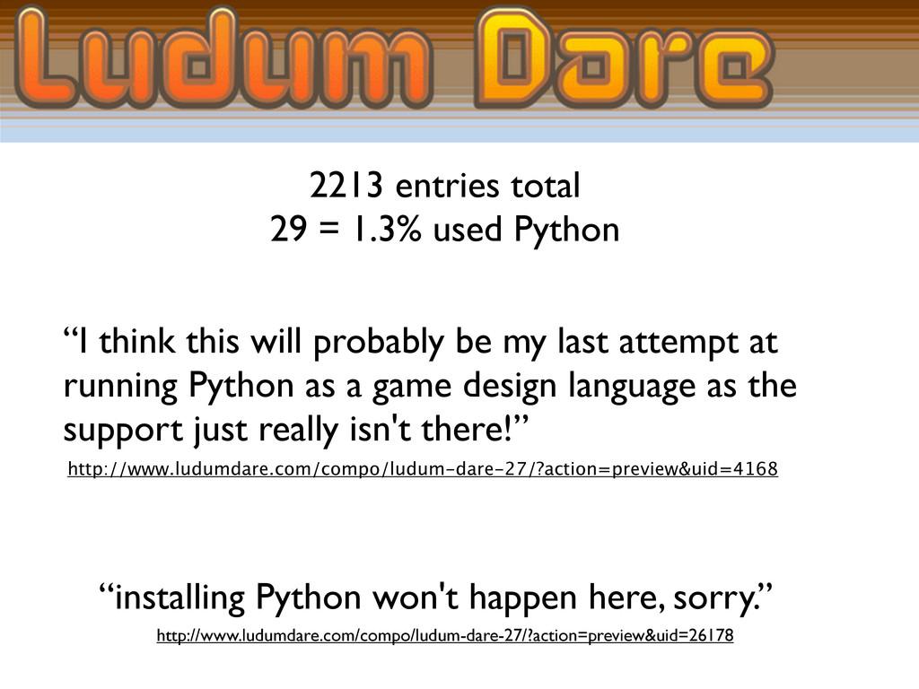 "2213 entries total 29 = 1.3% used Python ""I thi..."