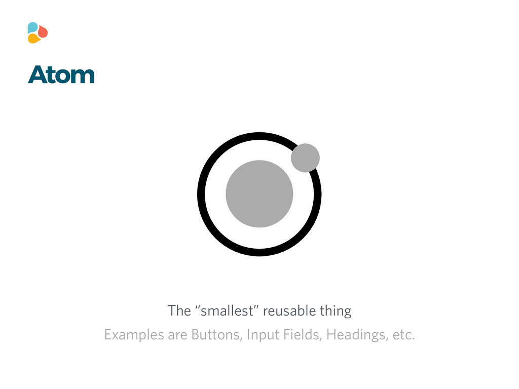 "Atom The ""smallest"" reusable thing Examples are..."