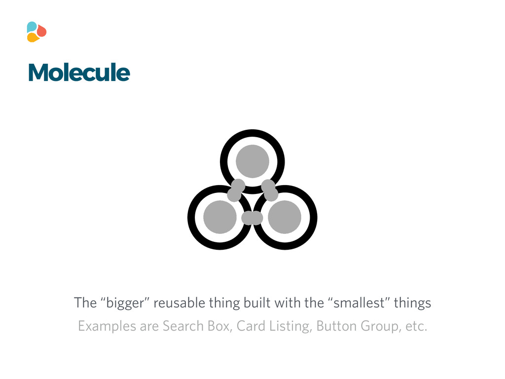 "Molecule The ""bigger"" reusable thing built with..."