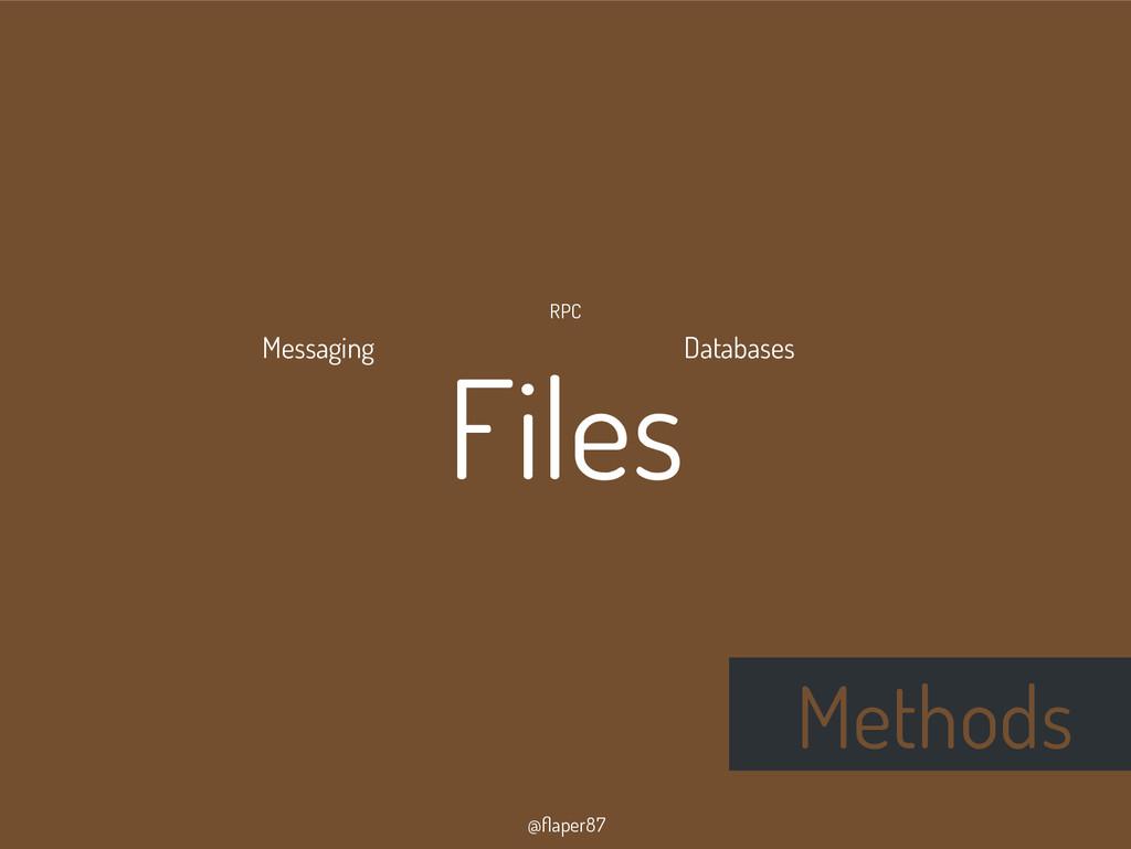@flaper87 Methods FilesDatabases RPC Messaging