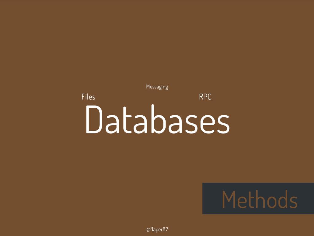 @flaper87 Methods Databases RPC Messaging Files
